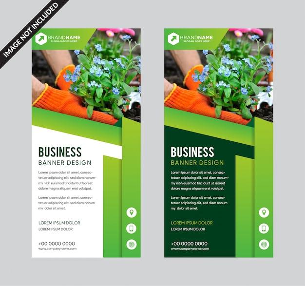 Cor verde arregaçar o design da bandeira de negócios.