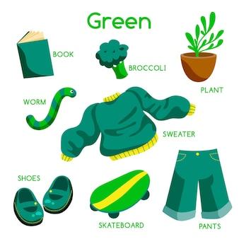 Cor verde e vocabulário definido em inglês