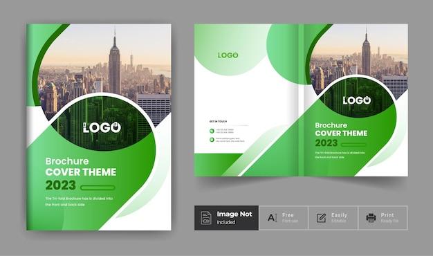 Cor verde modelo de design de brochura de negócios tema empresa perfil página de rosto apresentação
