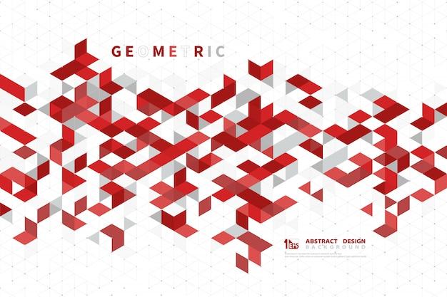 Cor vermelha abstrata do negócio do quadrado moderno da tecnologia geométrica.