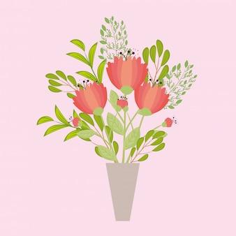 Cor vermelha de flores em um vaso, galhos com folhas