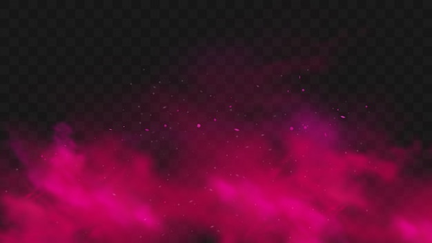 Cor vermelha de fumaça ou nevoeiro isolada em fundo escuro transparente. explosão de pó rosa abstrata com partículas. nuvem de poeira colorida explodir, pintar holi, efeito de fumaça de névoa. ilustração realista