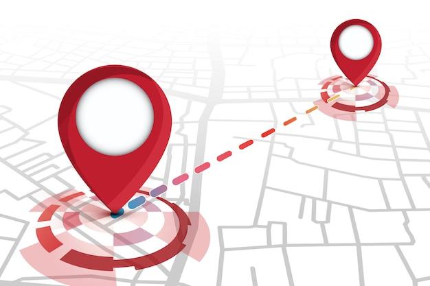 Cor vermelha de ícones de localização mostrando no mapa de ruas com rastreamento de linha