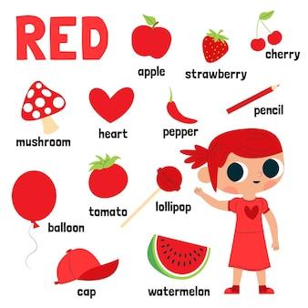 Cor vermelha e vocabulário definidos em inglês para crianças