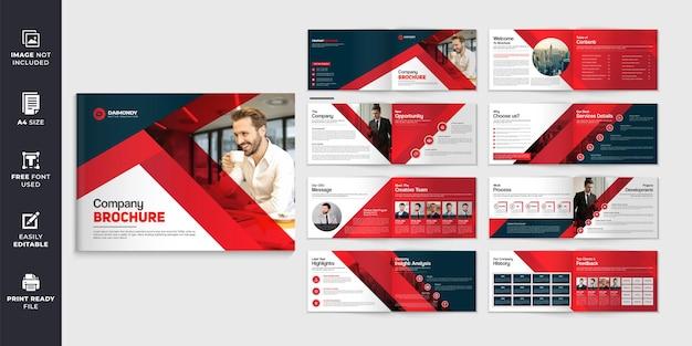 Cor vermelha forma paisagem perfil da empresa modelo de folheto ou design de folheto de várias páginas
