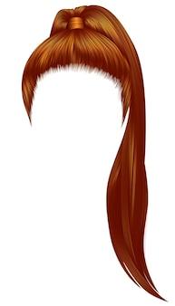 Cor vermelha morena de cabelos de mulheres na moda.
