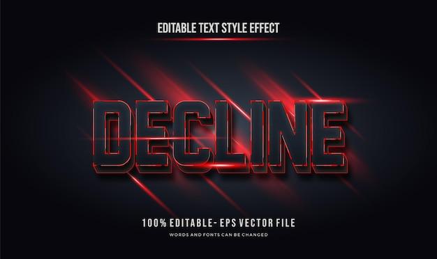 Cor vermelha preta futurista. efeito de estilo de texto editável