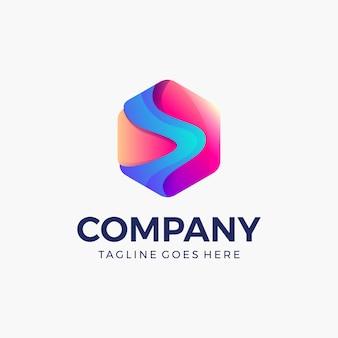 Cor vívida de forma hexagonal abstrata, logotipo colorido brilhante