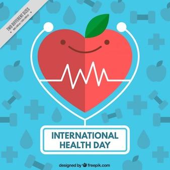 Coração agradável com aparência de maçã fundo médico