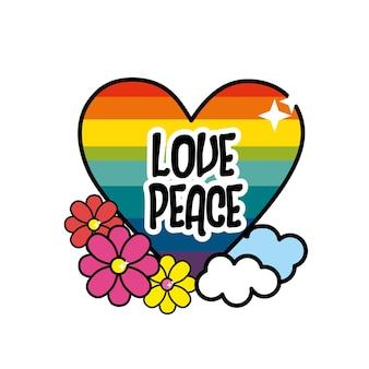Coração agradável hippie com flores e nuvens