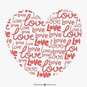 Coração amor calligrafic