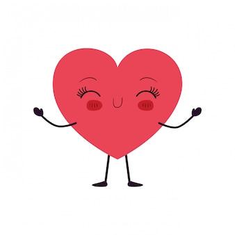 Coração, amor, kawaii, personagem