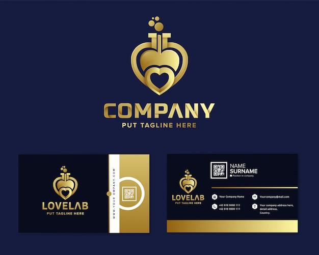 Coração amor laboratório logotipo modelo para empresa