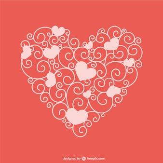 Coração artístico ornamental valentine