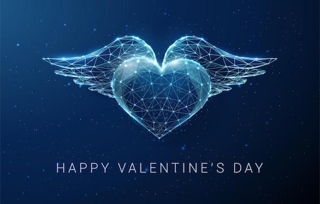 Coração azul abstrato com asas. feliz dia dos namorados cartão. design de estilo low poly. fundo geométrico abstrato. estrutura de luz em wireframe. ilustração vetorial de conceito gráfico moderno