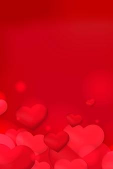 Coração bolha bokeh padrão fundo vermelho