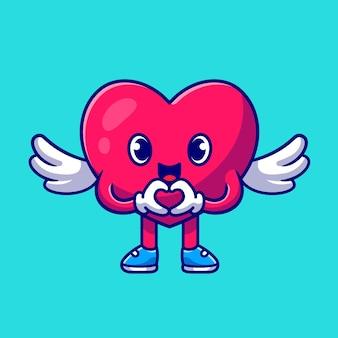 Coração bonito anjo com ilustração de ícone dos desenhos animados de sinal de amor.