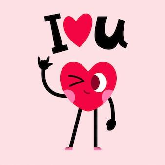 Coração bonito personagem cartão com letras