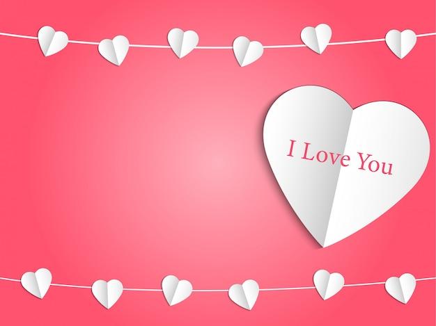 Coração branco com amor e mini coração