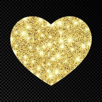 Coração brilhante de ouro sobre fundo escuro e transparente. fundo com brilhos de ouro e efeito de glitter. ilustração vetorial