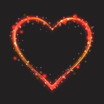 Coração brilhante sobre um fundo escuro. estilo de desenho animado.