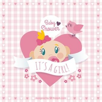 Coração cartão do chuveiro de bebê