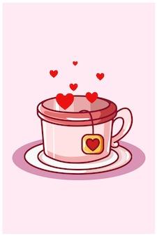 Coração chá cartoon ilustração kawaii dia dos namorados