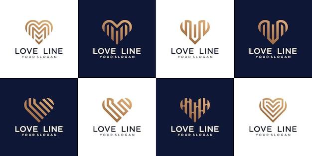 Coração, coleção de logotipo de amor com estilo de linha