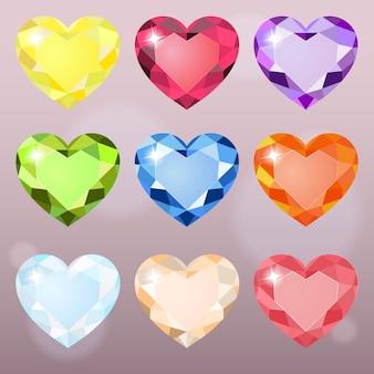 Coração colorido da forma da jóia para o enigma e para combinar 3 jogos