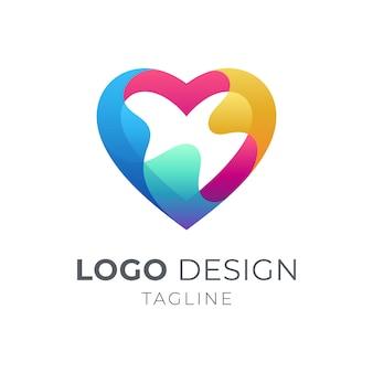 Coração colorido / design de logotipo de amor