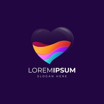Coração colorido logotipo design ilustração
