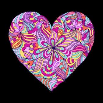 Coração colorido no fundo preto