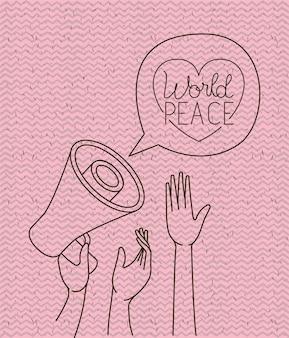 Coração com as mãos e mensagem de paz megafone