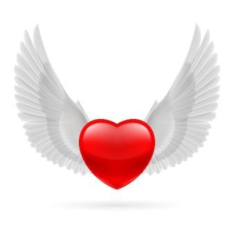 Coração com asas levantadas