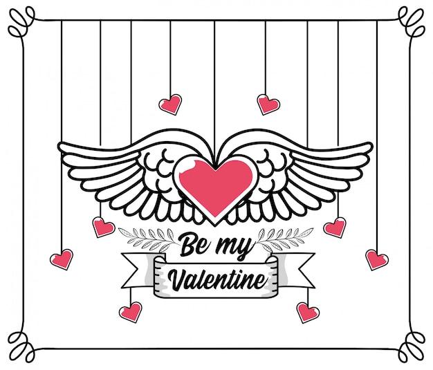 Coração com asas para celebração de velentine day