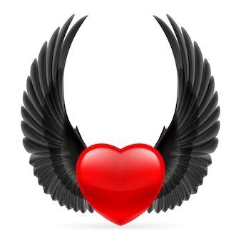 Coração com asas para cima