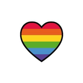 Coração com bandeira lgbt de arco-íris