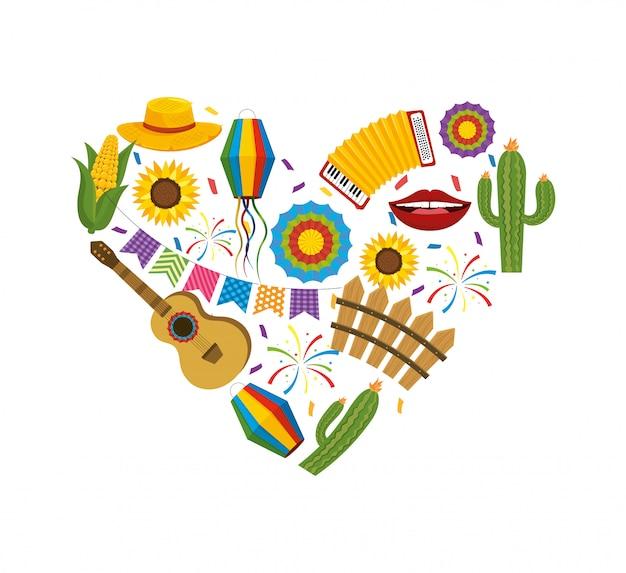 Coração com decoração de junina de festa para a festa