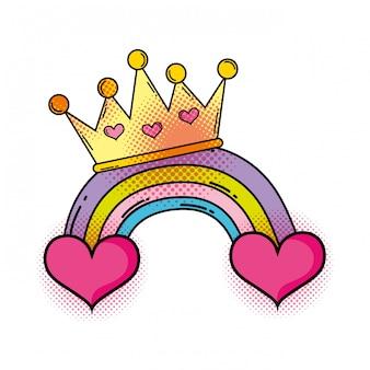 Coração com estilo de pop art de arco-íris