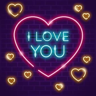 Coração com eu te amo mensagem