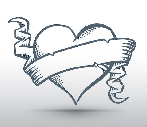 Coração com fita desenho banner para o conceito de amor