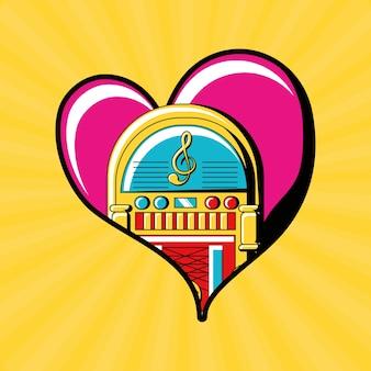 Coração com ícone rockola