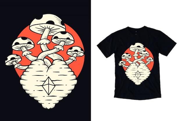 Coração com ilustração de cogumelo e diamante para design de camiseta