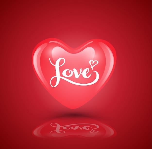 Coração com letras de amor