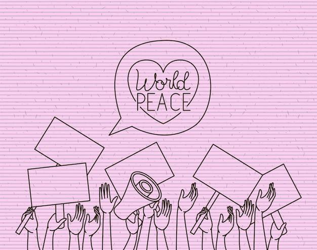 Coração com mensagem de paz de pessoas de mãos