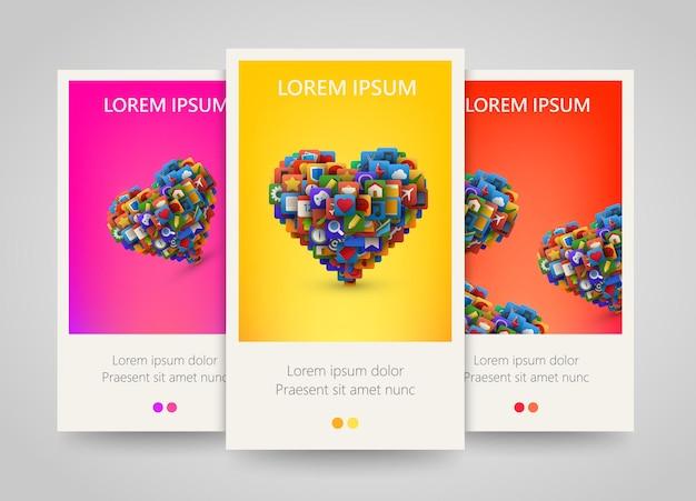 Coração com muitos ícones de aplicativos. conjunto de banner colorido.