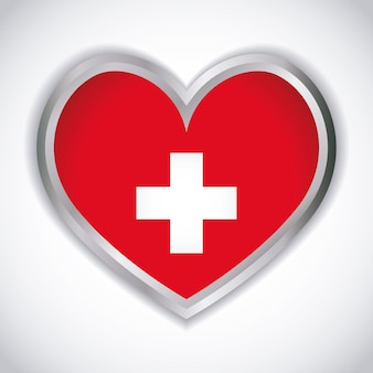 Coração com o ícone da bandeira suíça