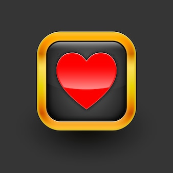 Coração com o ícone de moldura em preto