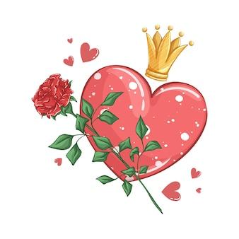 Coração com padrão de bolinhas, rosa vermelha e coroa de ouro.