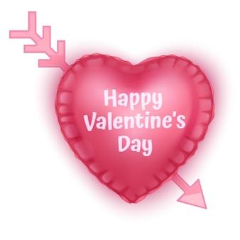 Coração com seta cartão de dia dos namorados